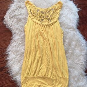 Yellow Braided Lace Tank Top